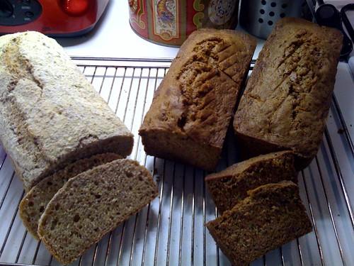 Sourdough bread & cake with muscovado sugar, cinnamon & courgettes.