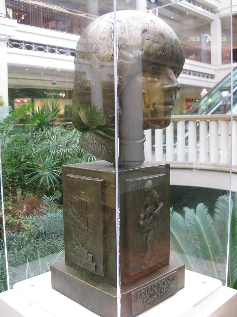 The 'Golden Boy' Bust of Brian Jones, Beechwood Shopping Centre, Cheltenham