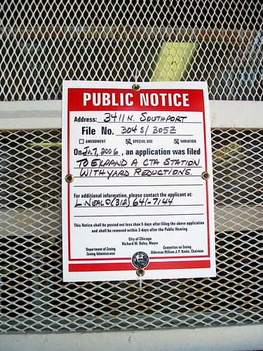 Remodeling / renovation notice at the North Southport Avenue CTA Brown line station. Chicago Illinois. August 2006.