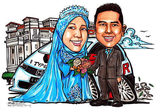Malay wedding couple caricatures at Fullerton Hotel Honda Civic