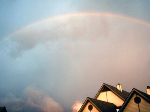 rainbow over new home