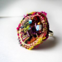 Elven Ring (fancypicnic) Tags: beads silk ring applique fabricjewellery largering textilejewellery abbeads
