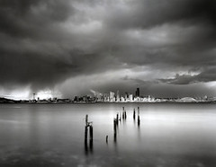 Winter in Seattle (Pierre Galin) Tags: seattle city winter film long exposure downtown waterfront large 25 4x5 format efke rodenstock tachihara caltar top20seattle