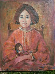 """Unprodigal Daughter"" (matangi.etsy) Tags: red orange colorful bright sweet etsy matangi girlwithdoll portraitlittlegirl impastopainting vintageoilpainting wellexecuted"