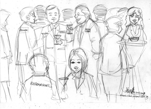 Cartoon illustration - networking revised pencil sketch 1