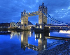 London Bridge (Tower Bridge) : Reflection on the River Thames (Anirudh Koul) Tags: uk travel bridge blue england london tower thames towerbridge londonbridge river foto londres londra blueandwhite notlondonbridge a2fp
