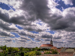 Checea (AragianMarko) Tags: church clouds religious europe village rooftops adobe romania cumulus acr sat hdr biserica nori crkva selo stratocumulus hram banat sonydscf828 timis summersky orizont photomatix oblaci checeachurch checea