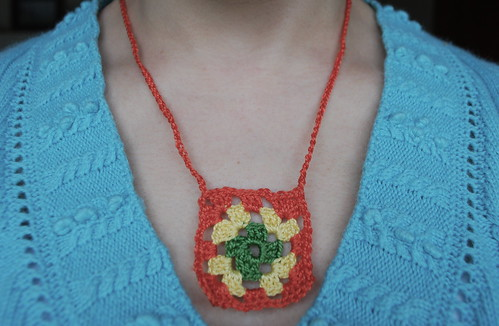 Size 5 crochet thread granny necklace