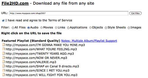 Descargar canciones de MySpace al teléfono móvil y en Mp3