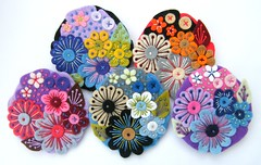 ..... A POCKETFUL OF POSIES! (APPLIQUE-designedbyjane) Tags: flower embroidery brooch silk felt cotton applique freeform