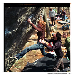 Bouldering in Lincoln woods (James Jones (Photography R.I.)) Tags: new england film portraits outdoors woods culture beta hasselblad climbing lincoln bouldering strong strength endurance northeast 20s camaraderie