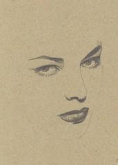 this is she. (renée anne //) Tags: 1920s lauren female illustration pencil vintage drawing minimal negativespace cardboard etsy bacall lafemme femmefatal art4friends