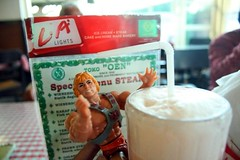 Old fashioned ice cream soda! Heman remember eating icecream when battle cat is still small kitten... Bad kitten go poopoo on king randor throne king randor no see poo poo before he sat king randor smelled like cat butt for three days  heman likes!!!
