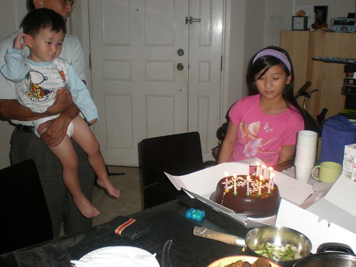 Eyeing S's chocolate birthday cake