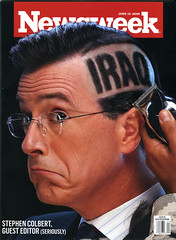 Stephen Colbert shaves his head / Newsweek  on...