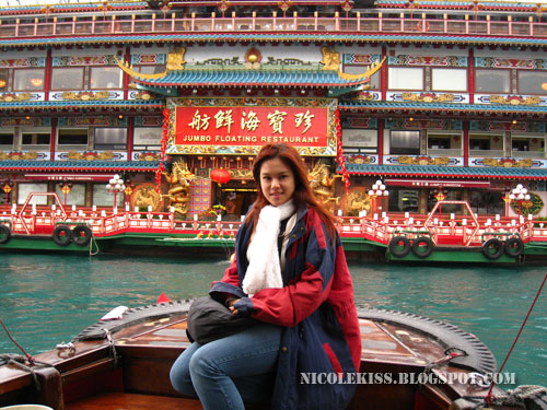 posing with jump floating restaurant