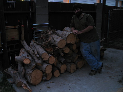 me with a pile of logs