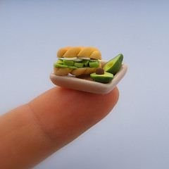 Hard-Boiled Eggs and Avocado Sandwich (Shay Aaron) Tags: food scale coffee breakfast dinner lunch avocado miniature cookie dish toaster fake mini vegetable sandwich fimo clay tiny meal bagel faux 12th 112 pretzel platter dollhouse petit realistic polymer shayaaron