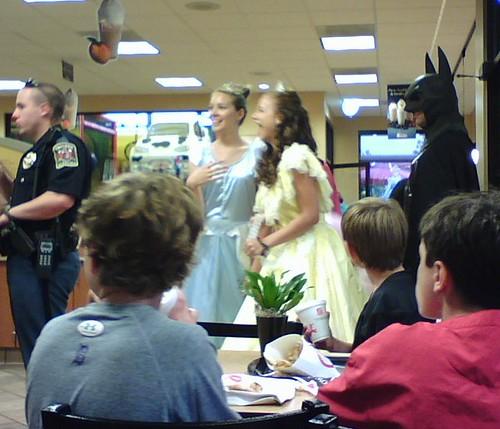 Princesses and Batman at Chick Fil-A