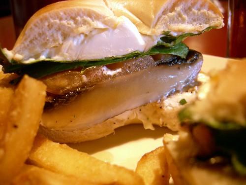 Portobello mushroom bagel sandwich