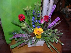 "#01ED $75 as shown to $100 Stylized arrangement includes gerbera daisies, liatris, heather, delphinium, roses,  and yarrow.  Faux pheasant feathers are an added touch to this design. • <a style=""font-size:0.8em;"" href=""http://www.flickr.com/photos/39372067@N08/3654279891/"" target=""_blank"">View on Flickr</a>"