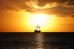 Pirate Ship Sunset (amangla007) Tags: ocean sunset sky sun beach nature water clouds ship pirate caribbean caymanislands breathtaking grandcayman coth mywinners colorphotoaward platinumheartaward breathtakinggoldaward nikonflickraward exquisitesunsets