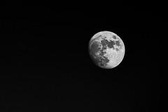 Even Heaven Has A Nightlight (Nghi La) Tags: city sky blackandwhite bw moon toronto ontario canada night nikon downtown craters lakeshore handheld metropolis nikkor beacon celestial 70200mm d700 wanderingthecity