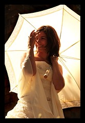 MARIAGE / WEDDING : Bright Umbrella :o) (Sebastien LABAN) Tags: wedding party white france flower cute love beautiful hair photography groom bride marseille soft glow dress heart south dream ceremony cheeks lovely antibes sud straphael weddingphotography straph