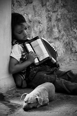 Rmi sans Famille (Frankverro) Tags: street blackandwhite bw musician music dog puppy kid sad emotion noiretblanc candid homeless streetphotography accordion nb greece triste enfant rhodes troubadour remi musique rmi musicien accordon sadreality