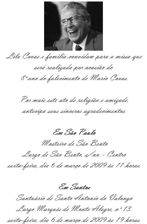 Convite à Missa do 8º ano do falecimento de Mario Covas | Bruno ...