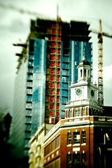 clock tower (Stacey~) Tags: building tower clock lensbaby canon construction bokeh crane highrise scaffold fav composer lightroom bokey explored xti lightroom20 presetsheaven phedgychurch