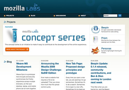 Labs.mozilla.com home page