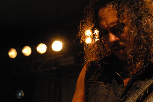 Kirk Hammett–a rare example of a 46-year-old man who can actually pull off a denim vest.