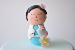 China Doll Close Up (Sweet Tiers) Tags: birthday flowers blue cake hand sugar made christening figurine