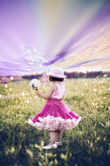 (mylaphotography) Tags: flowers blue white girl field child purple picking pettiskirt mylaphotography