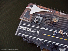 The Concorde and Intrepid Side By Side (scottdunn) Tags: kite newyork photography aerial concorde intrepid gothamist kap aircraftcarrier britishairways aerialphotography kiteaerialphotography pattugliaacrobaticanazionale scottdunn fotografiaaéreacompipa photoparcerfvolant freccetricoloripan fesseldrachenluftbildfotografie