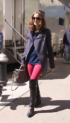 Leighton Meester (omgashleynicole) Tags: sunglasses glasses pretty shades brunette curlyhair blueshirt peacoat balenciagabag pinkleggings graycoat leightonmeester fossipgirlkneehighboots