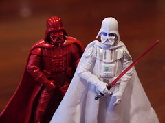 Red and White Darth Vader Figures