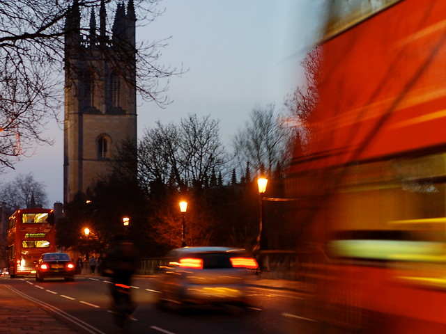 Double decker bus crossing Magdalen Bridge in Oxford