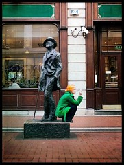 The Irish Flag (Sator Arepo) Tags: leica ireland dublin irish orange green texture statue 50mm flag streetphotography olympus literature smoking joyce zuiko irishflag ulysses jamesjoyce 25mm dubliners e330