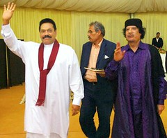 Sri Lanka President Mahinda Rajapaksa warmly received by Libyan Leader Muammar Gaddafi in Libya on 9 April 2009 (South Asian Foreign Relations) Tags: srilankapresidentmahindarajapaksawarmlyreceivedbylibyanleadermuammargaddafiibyaatserfi libyaapril09