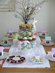 Easter table setting! (toriejayne) Tags: pink white tree rabbit bunny green bunnies mushroom birds easter table cupcakes candle basket chocolate decoration mint felt lilac ribbon tablecloth tablesetting tablescape eastertable toriejayne