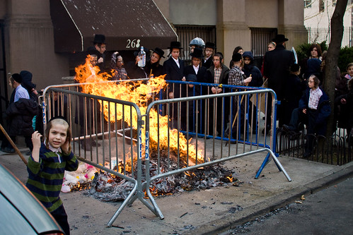 Hasidic Jews burning trash