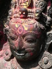 Swayambhunath, Katmandu, Nepal (balavenise) Tags: nepal statue stone shrine god buddha prayer religion buddhism katmandu swayambhunath prire devnagari  flickrgiants