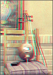 Kamancheh_Anaglyph 3d picture: You need red/Cyan glasses (Shahrokh Dabiri) Tags: old 3d anaglyph stereo bow instrument musicalinstrument ethnic depth musicinstrument  kamancheh kamanche sterography    iranianinstrument   persianinstrument electronicpickup skinmembrane
