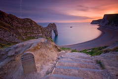 (Claire Hutton) Tags: door uk longexposure pink blue sunset sea england bw orange beach water rock stone coast arch purple steps smooth wideangle cliffs rockface dorset silky slowshutterspeed durdledoor ndfilter jurassiccoast 10stop nd1000 nd110 10stops bw110 batshead leefilters swyrehead 06ndgrad 09ndgrad 03ndgrad