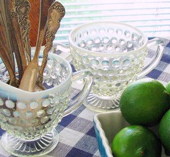 From The Cupboards (nbklx17 (Sandy)) Tags: green kitchen vintage antique interior collections tablecloth decor cottagestyle creamer limes homesweethome sugarbowl blueandwhite moonstone hobnailglass antiquesilver blueandwhitechecks atmykitchentable thingsinmykitchen fromthe99centsstore cutelittlebluedish