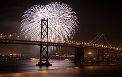 Fireworks by the Bay (A Sutanto) Tags: sf sanfrancisco california ca city bridge urban usa night america bay fireworks kaboom event baybridge annual 2009 sfbay kfog