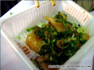 Mark tried this stirr-fried pig innards from a roadside food kiosk