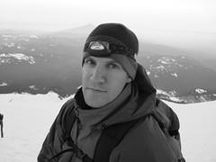 Shot of Jeff with mountain shadow in background (John W.) Tags: oregon climbing mthood mountaineering mounthood